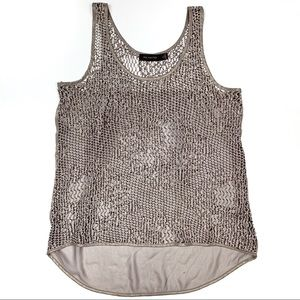 The Limited Metallic Crochet Sleeveless Blouse